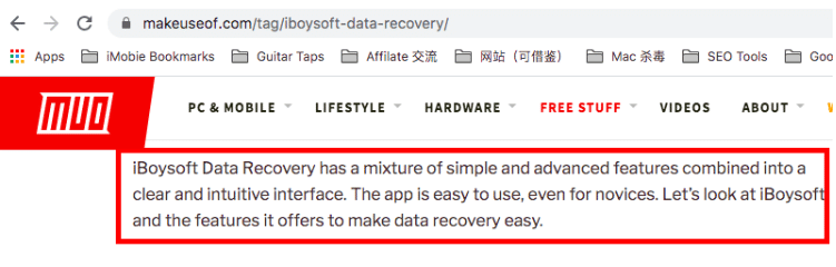 iBoySoft Mac data recovery review from makeuseof.com